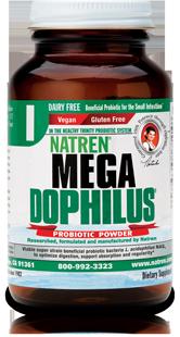 Natren Mega- Dophilus Dairy-Free has Lactobacillus acidophilus NAS