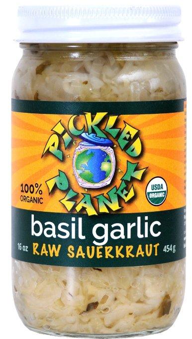 Pickled Planet Basil Garlic Raw Sauerkraut